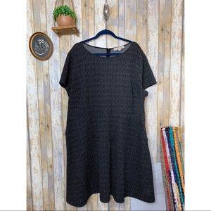 LOFT Plus Size Black Speckled Shift Dress